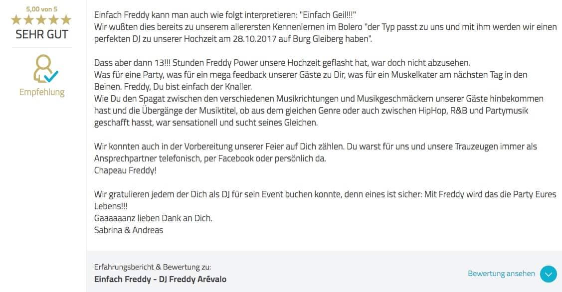 Bewertung von Sabrina und Andreas - Hochzeit auf Burg Gleiberg in Gießen