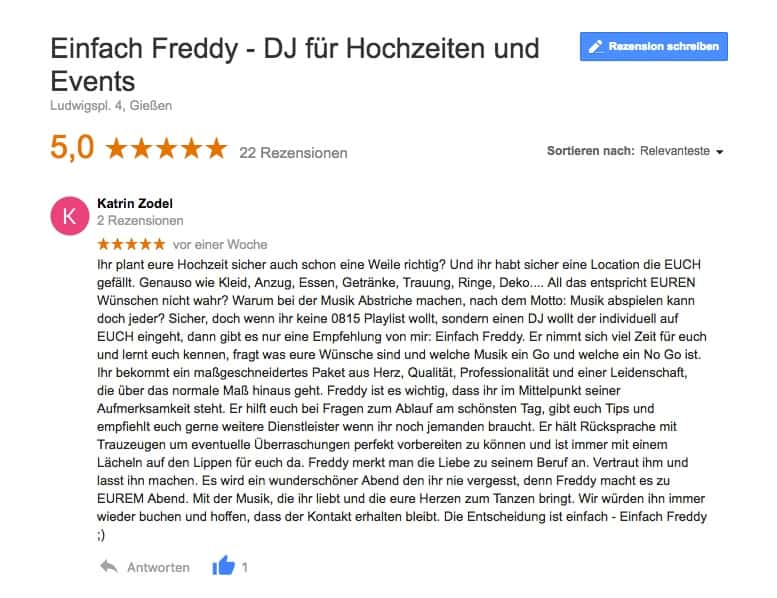 Bewertung von Katrin und Björn - Hochzeit im Hotel und Restaurant heyligenstaedt in Gießen